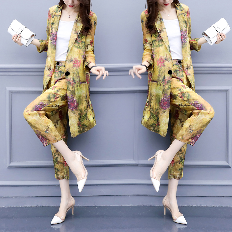 Floral Print Fashion Women Sets Clothes Two-piece Suits Ol Year-old Female Costume Conjunto Feminino Ensemble Femme Survetement