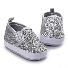 Hongteya 2017 new silver spring bling bling pu leather baby moccasins shoes sofe sole baby girls boys shoes first walkers