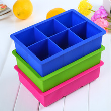 1 PC Novelty 6-Square Soft Silicone Ice Cube Tray Ice Maker Jelly Pudding Mould Free Shipping