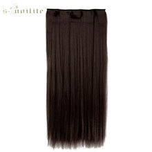 SNOILITE 23inch Synthetic Clip in Hair Piece Long Straight Hair Extensions One Piece Half Head Medium Brown