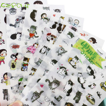 Creative transparent PVC stickers cute black and white cat photo album decorative stickers child DIY toy 6sheets/set(China)