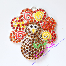 48MM 10pcs/lot Red Swing Paint Rhinestone Pendant Chunky Baby Necklace Thanksgiving Turkey Pendant Amazon Supplier CDRP-503066