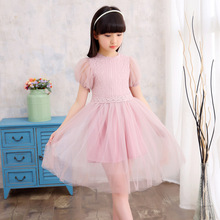 Han Edition 2017 Child Hubble-bubble Sleeve Dress New Girls Summer Wear Dress Children's Clothing Factory Direct