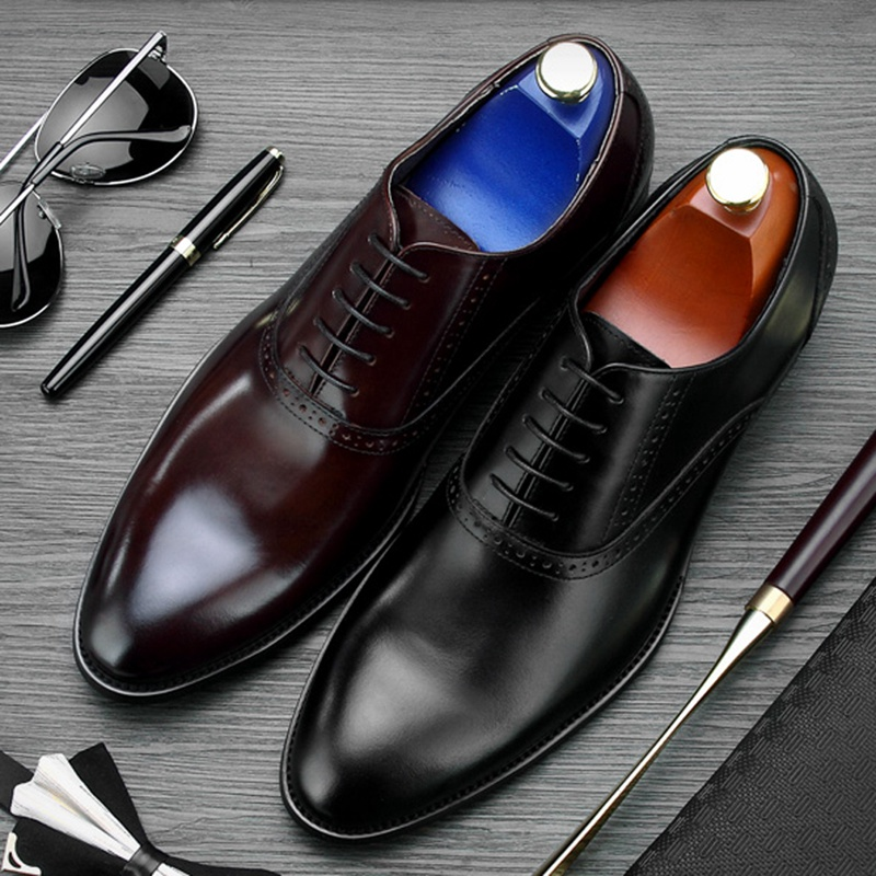 Mens Classic Modern Retro Oxfords Round-Toe Wingtip Comfort Lace Buckle Casual Dress Shoes by Black Red Silver