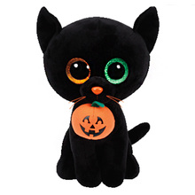 15cm Ty Original Beanie Boos Plush Toy Shadow Black Cat Pumpkin Stuffed Animal Doll Big Eye Kids Toy Soft Cute Birthday Gift