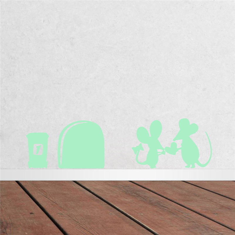 Aliexpress Com New Mouse Hole Wall Corner Sticker Removable Fluorescent Household Mural Stairs Posters Luminous Diy Decorations For Living Room From