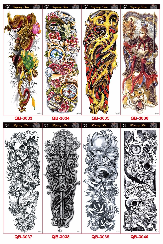 Waterproof Temporary Tattoo Sticker full arm large size robot arm tatto flash tatoo fake tattoos sleeve for men women 19 8