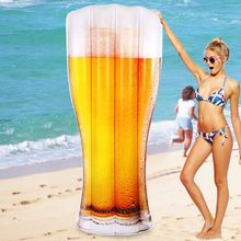 180cm 70inch Giant Beer Bottle Pool Float Mug Lounger Floatie Raft for Children Adult Summer Water Ride-on Party Toys piscina