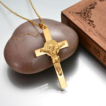 Never Fade Stainless Steel Large Cross Pendant Necklace For Women Gold Color Female Crucifix Jesus Piece Cross Pendant(China)