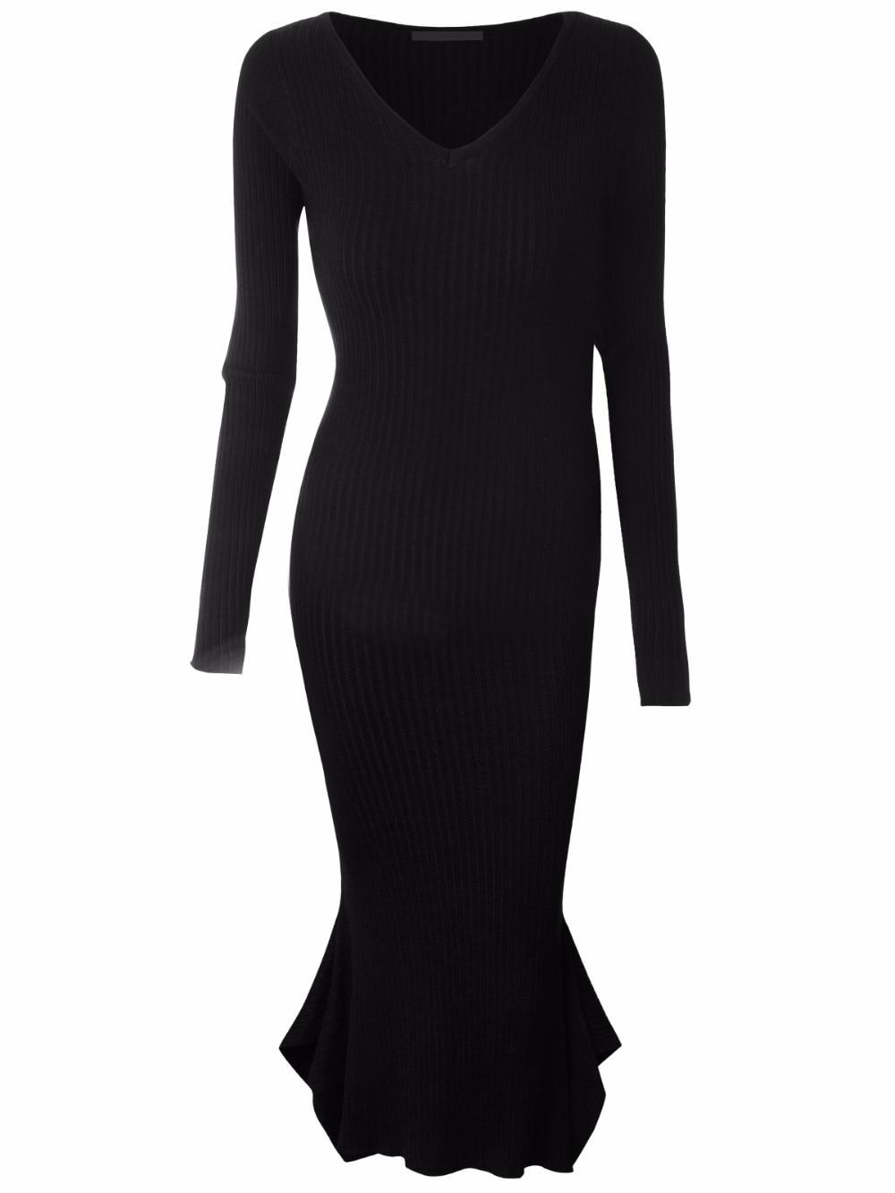 Dreamskull 2017 Women Oversize Long Sleeve Slim Knitted Dress Fitting Pencil Ladies Dresses Girls Elegant Fishtail Mermaid DressÎäåæäà è àêñåññóàðû<br><br>