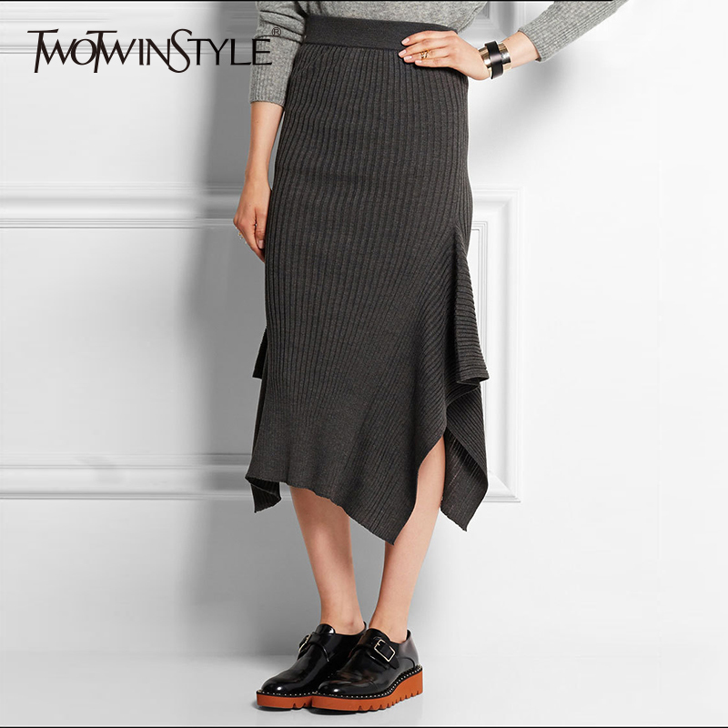 TWOTWINSTYLE Knitting Striped Skirt High Waist Asymmetrical Sexy Bodycon Mermaid Skirts Slim Casual Plus Size New Clothing|striped skirt|striped
