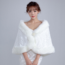 2016 Promotion Fur Bolero Beaded  Wedding Bolero Accessories White/Red Cheap Faux Shawl Winter Cape Bridal Jackets Free Shipping