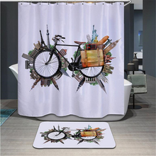 3D Bicycle shower curtain High Quality Polyester Fashion Vehicle models curtains Waterproof Home Bathroom Curtain with 12 Hooks