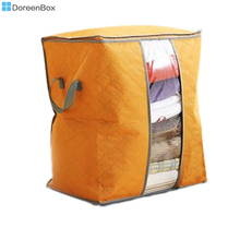 Doreen Box Nonwovens Storage Container Bags Orange For Clothes Tidy Organizer Pouch Suitcase 48cm x 42cm,1Piece