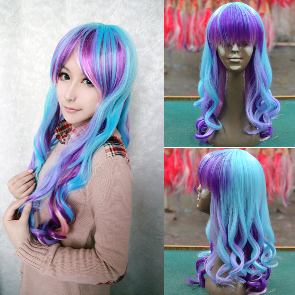 New wig Cosplay Heat Resistant  Lolita Long Curly ombre Blue Pink Purple Mixed colorful Multi Color  Wig<br><br>Aliexpress