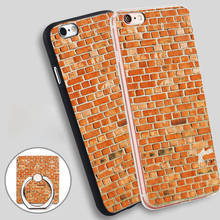brick wall Phone Ring Holder Soft TPU Silicone Case Cover for iPhone 4 4S 5C 5 SE 5S 6 6S 7 Plus