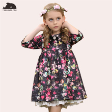 girl dress autumn 2017 print rose floral spring autumn girls dresses cotton lining 4 6 8 10 12 14 year old kids christmas dress(China)