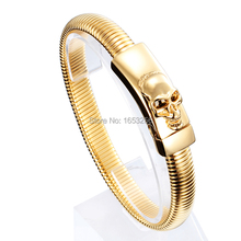 New Fashion  design High Quality Stainless Steel Snake Link  Chain Skull ID Bracelet Bangle Men's XMAS Holiday Gifts