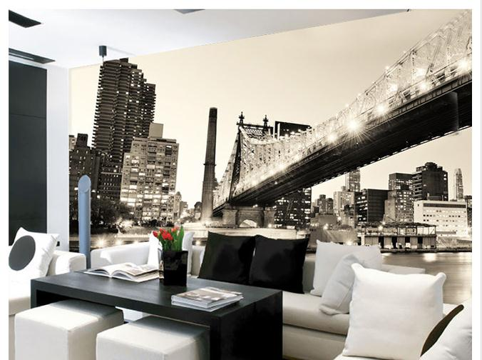 Customized 3d wallpaper 3d tv wall paper murals The Manhattan bridge landscape setting wall is black and white wallpaper<br><br>Aliexpress