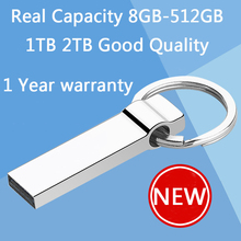 100% Real Hot Metal Key Chain 64GB Mini USB Flash Drive 128GB 32GB Pen Drives 16GB 8GB Pendrive Memory Stick Disk On Key 512GB