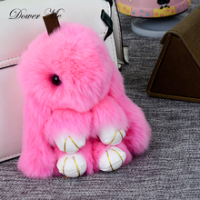 Dower Me Cute Bunny Keychain Women 15cm Fluffy Pompom Fur Rabbit Keychain Llaveros Mujer Car Bag Pendant Ball Key Holder