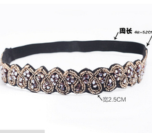 Vintage Bohemian Ethnic Gold Seed Beads Faceted Metal Beads Heart Handmade Elastic Wide Headband Hair Band Hair Accessories(China)
