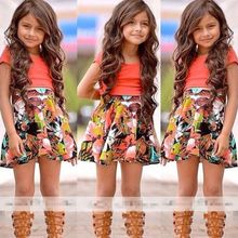 2017 Baby Kids Girls Dress Tops Shirt+Skirt Flower 2-Pieces Outfits Set 2-8Y(China)