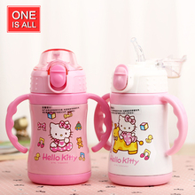 Hello Kitty Thermos Bottle For kids Water Bottle with handle Drinking Water Bottles Cup with Button Kettle Cups Cute Cartoon