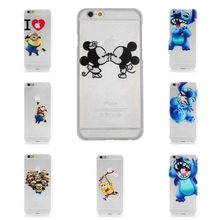 Ultrathin Mickey Mouse Sponge Bob Case for iPhone 6 Minions Stitch Spider Man PC Hard Transparent Back Cover for iPhone 6s