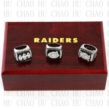 Team Logo wooden case 3PCS Sets 1976 1980 1983 Oakland Raiders Super Bowl Championship Ring 10-13 size Solia Back
