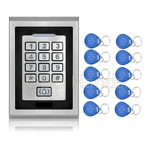IP66 Access Controller Key readeR System With Metal Keypad Door Bell Button RFID Door Lock K82 Silver+10 EM4100 Keychains/fobs