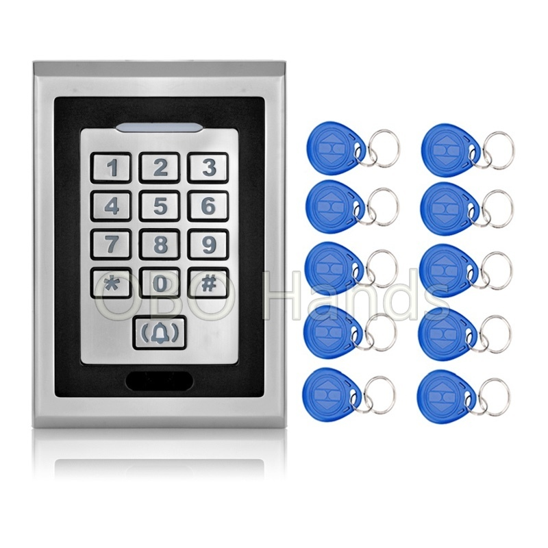 IP66 Access Controller Key readeR System With Metal Keypad Door Bell Button RFID Door Lock K82 Silver+10 EM4100 Keychains/fobs<br>