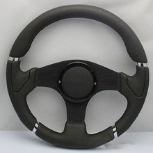 HOT SALE MOMO 14 inch / 350mm Steering Wheel Black Stitch Sport Racing Genuine Suede Steering Wheel Fit Most Boss Kit(China)