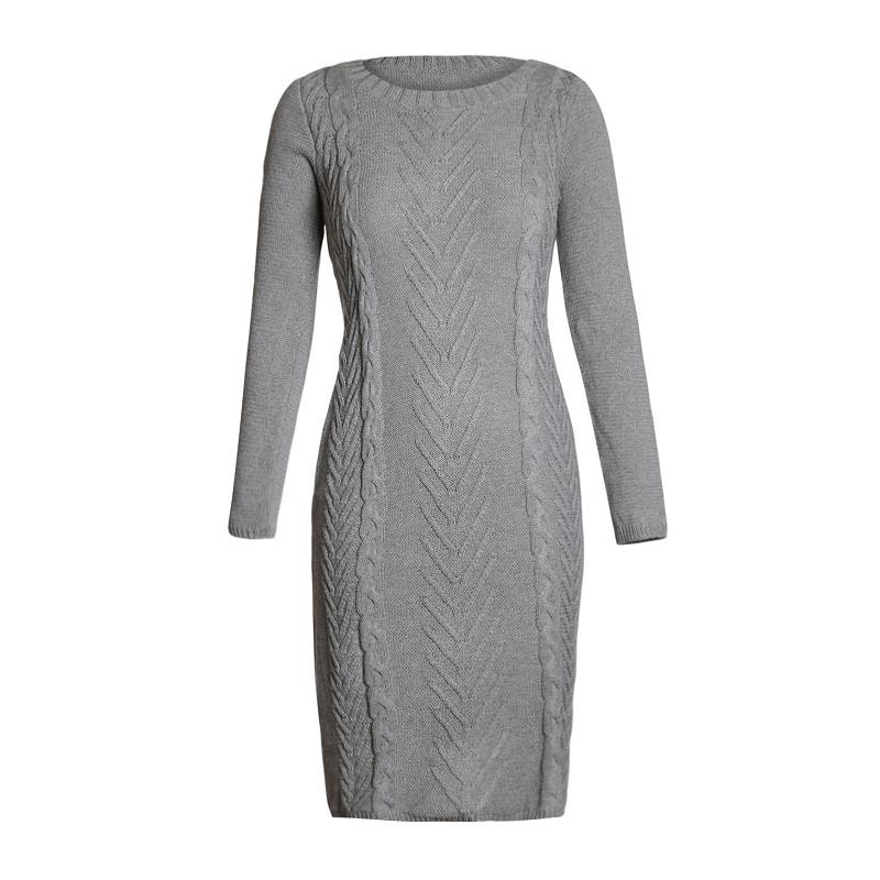 ADEWEL 2018 Spring Women Long Sleeve Bodycon Sweater Dress Casual Hand Knitted Midi Dress Elegant Inner Wear Womens Dresses (2)