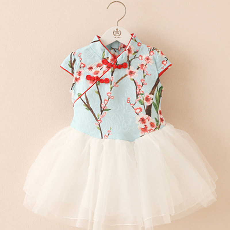 Spring Summer Chinese Style Sweet Girls Exquisite Embroidery Cheongsam Dresses Baptism Plum Blossom Children Bridal Tulle Dress<br><br>Aliexpress