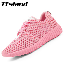 New Summer Women Mesh Flats Breathable Running Shoes Female Comfortable Sports Shoes Net Walking Shoes Zapatillas Mujer Sneakers(China)