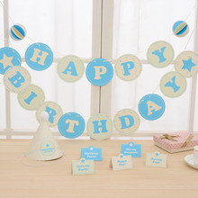 Banner Garland Pink Blue Birthday Hat Table Place 7Pcs/Set Cards Birthday Party Decorations Kids Party Supplies