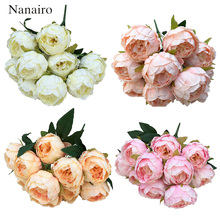 Large 10 Heads Vintage Silk Flower European Artificial Flowers Bouquet Fall Vivid Peony Fake Leaf Wedding Home Party Decoration(China)