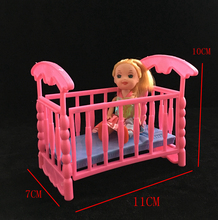 NK 2017 Newest Doll Accessories Baby Bed Super Cute Bed For Small Kelly Dolls For Barbie Dolls Girls Gift Favorite Design Toys(China)