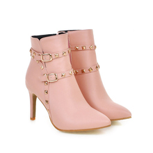 Brand New Hot Sexy Women Ankle  Boots Black Pink White Beige Ladies Shoes Super High Heels BAA6 Plus Big size 4.5-10 Pointed Toe