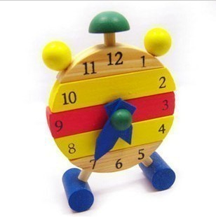 2016 New Baby Kids Blocks Early Learning Building Educational Wooden Clock Toy<br><br>Aliexpress