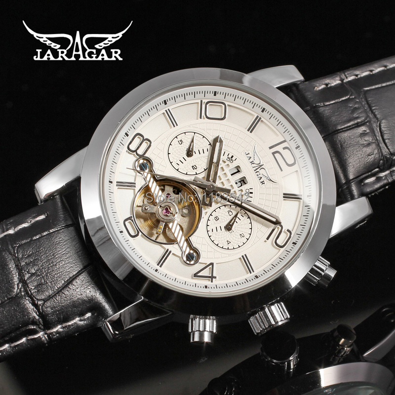 Jargar  new Automatic fashion dress watch tourbillon silver color for men crazy sales shipping  free JAG165M3S1<br>