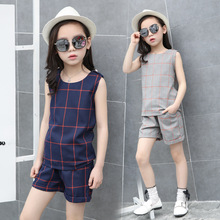 Fashion Teen Girls Clothing Sets 4 8 10 12 13 Years Sleeveless Tops and Plaid Shorts Sports Suit Christmas Party Birthday Gift(China)
