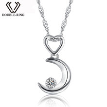 DOUBLE-R Moon Necklaces Pendants Women 0.03ct Diamond 925 Sterling Silver Pendants Anniversary Heart Jewelry Customized Gift Box(China)
