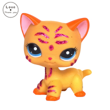 Yellow kitten with Blue eyes Girl's Collection toy EUROPEAN kitten Kitty  Toy LPS #2118 Kids gift Cute rare style