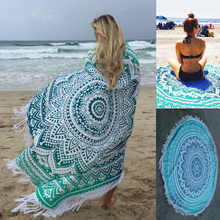 Summer Beach Towels Floral Printed Tassels Blanket Soft Yoga Mat Tippet Home Textile Polyester Round Bath Towel
