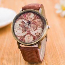 West Cowboy 2017 Men's Travel The World Travel Guide Casual Jeans Quartz Sports Watches Men's Women's Gifts(China)