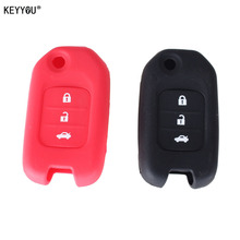 KEYYOU 3 Buttons Silicone Car Key Case for Honda FIT XRV VEZEL CITY JAZZ CIVIC HRV Civic Crider CRV Protector Cover(China)