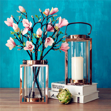 Europe candle holders Rose gold silver candlestick moroccan lanterns candle holder lantern wedding candelabra decoration