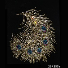 Gold Peacock Design Hotfix Rhinestone Heat Transfer Design Iron On Rhinestone Motif Embellishment For garment Shoes Sweater